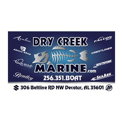 Logo for Dry Creek Marine a sponsor for the 2020 GMCBA  Bass fishing Tournament.