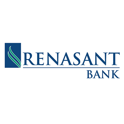 Logo for Renasant Bank a sponsor for the 2020 GMCBA  Bass fishing Tournament.